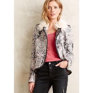 Anthropologie Elevenses Paisley Moto Fur Jacket
